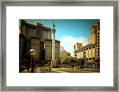 San Francisco Union Square 5d17933brun Framed Print by Wingsdomain Art and Photography
