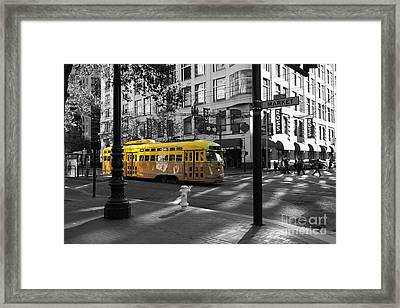 San Francisco Vintage Streetcar On Market Street - 5d19798 - Black And White And Yellow Framed Print by Wingsdomain Art and Photography
