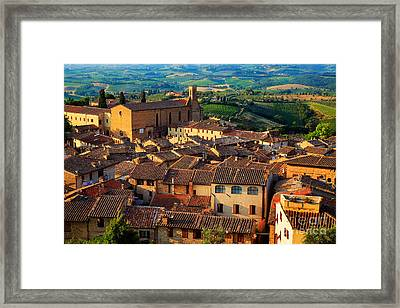 San Gimignano From Above Framed Print by Inge Johnsson