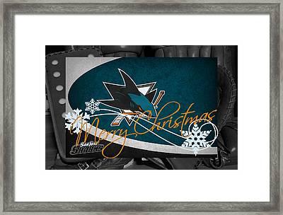 San Jose Sharks Christmas Framed Print by Joe Hamilton