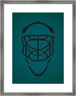 San Jose Sharks Goalie Mask Framed Print by Joe Hamilton