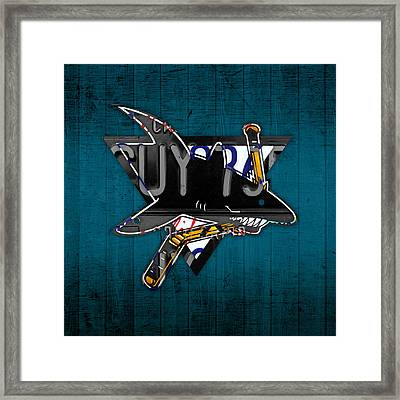 San Jose Sharks Hockey Team Retro Logo Vintage Recycled California License Plate Art Framed Print by Design Turnpike