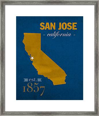 San Jose State University California Spartans College Town State Map Poster Series No 094 Framed Print by Design Turnpike