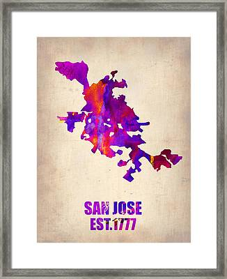 San Jose Watercolor Map Framed Print by Naxart Studio