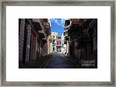 San Juan Alley Framed Print by John Rizzuto
