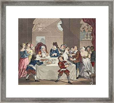 Sancho At The Feast Starved Framed Print by William Hogarth