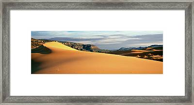 Sand Dunes In A Desert At Dusk, Coral Framed Print by Panoramic Images