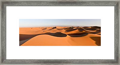Sand Dunes In A Desert, Erg Chigaga Framed Print by Panoramic Images