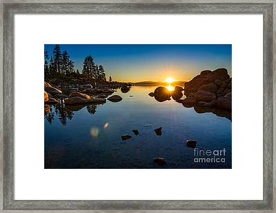 Sand Harbor Sunset Framed Print by Jamie Pham
