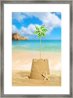 Sandcastle With Pinwheel Framed Print by Amanda Elwell