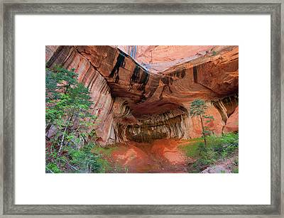 Sandstone Overhang Oozing With Water Framed Print by Howie Garber