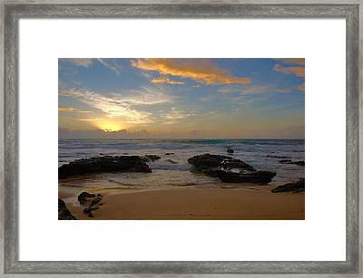 Sandy Beach Sunrise 3 - Oahu Hawaii Framed Print by Brian Harig