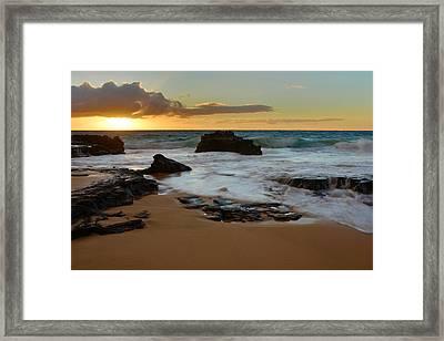 Sandy Beach Sunrise 7 - Oahu Hawaii Framed Print by Brian Harig