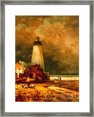 Sandy Hook Lighthouse - After Moran Framed Print by Lianne Schneider