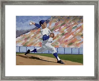 Sandy Koufax Framed Print by Ron Gibbs