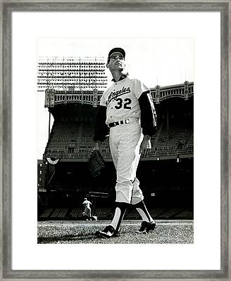 Sandy Koufax Vintage Baseball Poster Framed Print by Gianfranco Weiss