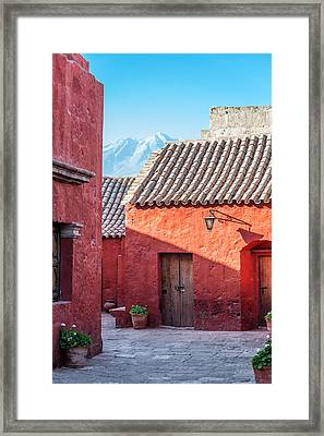 Santa Catalina Monastery And Volcano Framed Print by Jess Kraft