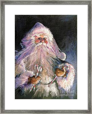 Santa Claus - Sweet Treats At Fireside Framed Print by Shelley Schoenherr