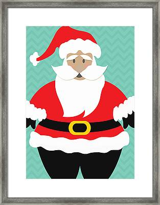 Santa Claus With Medium Skin Tone Framed Print by Linda Woods