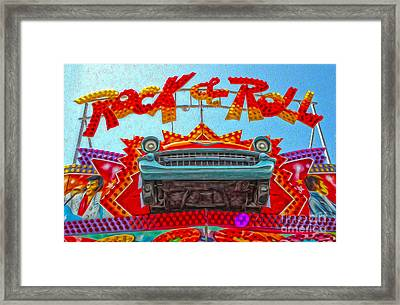Santa Cruz Boardwalk - Rock And Roll Framed Print by Gregory Dyer