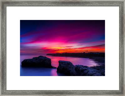 Santa Cruz Cliffs Sunset Photo Santa Cruz California Framed Print by Dave Gordon