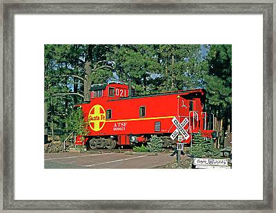 Santa Fe Caboose Off Route 66 Framed Print by Linda Phelps