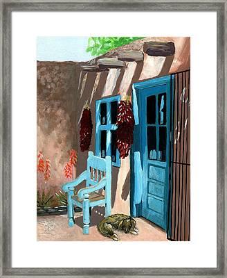 Santa Fe Courtyard Framed Print by Karyn Robinson