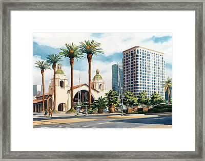 Santa Fe Depot San Diego Framed Print by Mary Helmreich