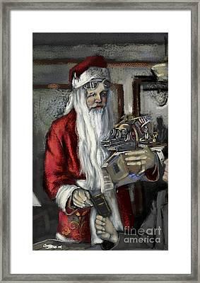Santa Gets His Pilot's License Framed Print by Carrie Joy Byrnes