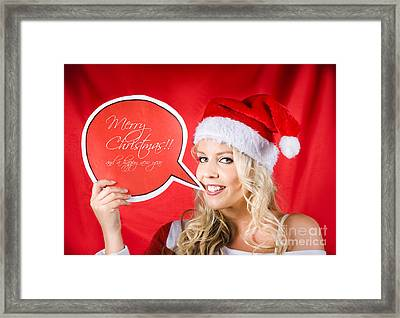 Santa Girl Holding Blank Bubble Board Framed Print by Jorgo Photography - Wall Art Gallery