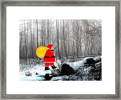 Santa In Christmas Woodlands Framed Print by Patrick J Murphy