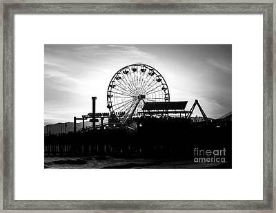 Santa Monica Ferris Wheel Black And White Photo Framed Print by Paul Velgos