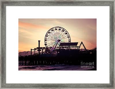 Santa Monica Pier Ferris Wheel Retro Photo Framed Print by Paul Velgos