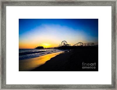 Santa Monica Pier Pacific Ocean Sunset Framed Print by Paul Velgos
