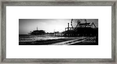 Santa Monica Pier Panorama Black And White Photo Framed Print by Paul Velgos
