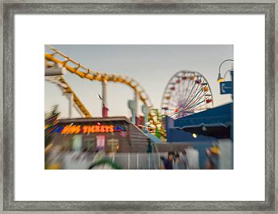 Santa Monica Pier Ride Entrance Framed Print by Scott Campbell