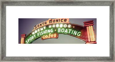 Santa Monica Pier Sign Vintage Panoramic Photo Framed Print by Paul Velgos