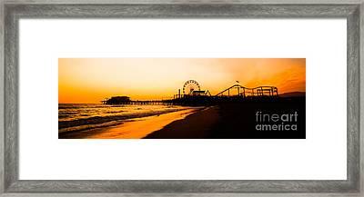 Santa Monica Pier Sunset Panorama Picture Framed Print by Paul Velgos