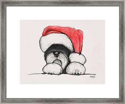 Santa Schnauzer Framed Print by Katerina A Cechova