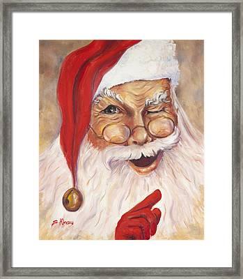 Santa Winking I Framed Print by Sheila Kinsey