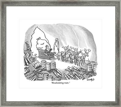 Santa With His Full Sleigh And Reindeer Framed Print by Robert Leighton