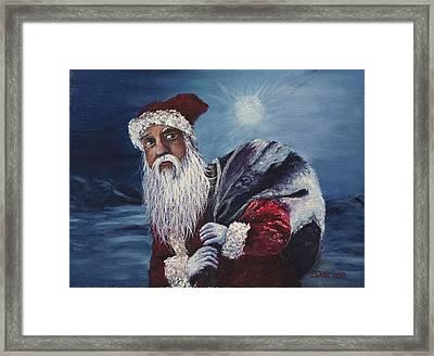 Santa With His Pack Framed Print by Darice Machel McGuire