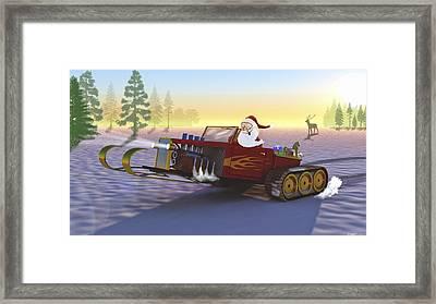 Santa's New Sleigh Framed Print by Ken Morris