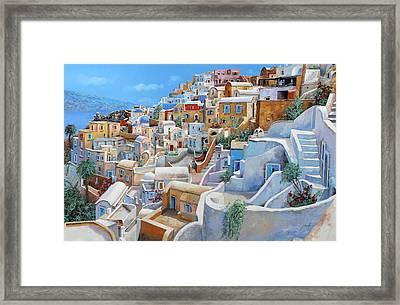 Santorini A Colori Framed Print by Guido Borelli