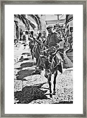 Santorini Donkey Train. Framed Print by Meirion Matthias