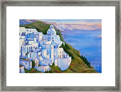 Santorini Greece Watercolor Framed Print by Michelle Wiarda
