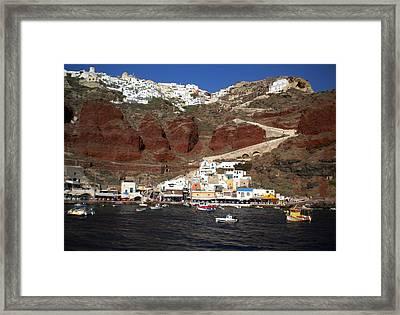 Santorini  Island  View To Oia Greece Framed Print by Colette V Hera  Guggenheim