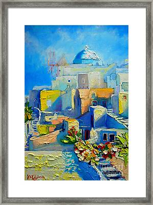 Santorini Light Framed Print by Ana Maria Edulescu