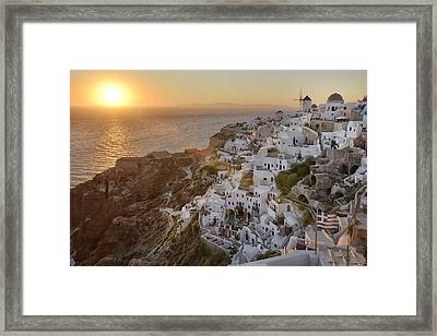 Santorini Sunset Framed Print by Christian Heeb