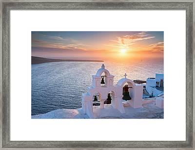 Santorini Sunset Framed Print by Evgeni Dinev